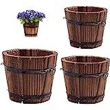 Vtete 3 Pcs Rustic Succulent Planter Box Wood Barrels Flower Pot Plant Container Box for 3 Different Sizes (No Flower)