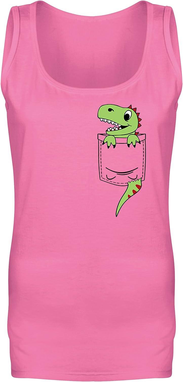 Womens Pocket Dinosaur Dino Cute Character Print Vest Tank Top