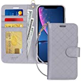 FYY Designed for iPhone XR Case, Luxury PU Leather Wallet Phone Case with Card Holder Flip Folio Protective Shockproof Cover