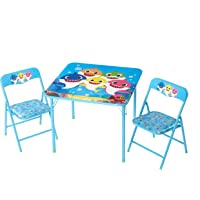 Baby Shark 3 Piece Children's Activity Square Table and Chair Set, Ages 3+
