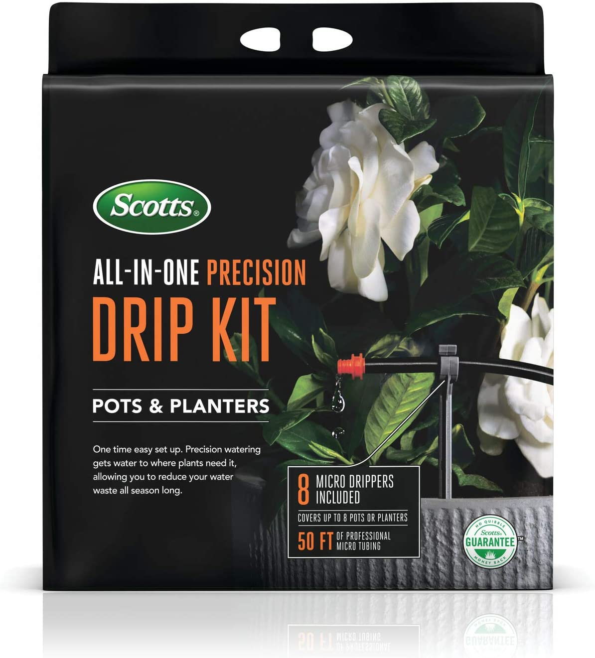 Scotts All-in-One Precision Drip Kit - Includes 8 Micro Drippers and 50 ft. of Professional Micro Tubing, Precision Watering for Pots and Planters, Covers up to 8 Pots or Planters