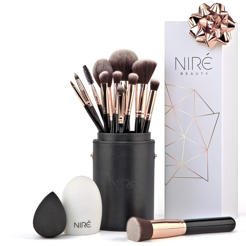 Niré Brochas de Maquillaje con Esponja Maquillaje, Estuche y Limpiador de Brochas product image