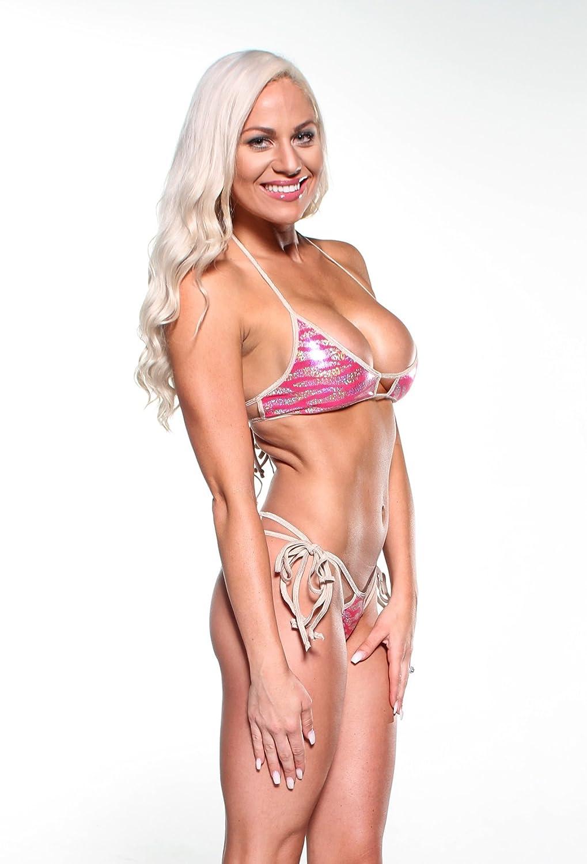 077cf5774e6d Amazon.com: Sparkly Pink Animal Print Sexy Double Strap Scrunch Butt Bikini  2pc w/ Nude: Clothing