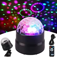 RHM Portable Disco Ball Party Light,Sound Activated DJ Lights with Remote Control,7 Colors LED Stage Light Wireless Phone Con