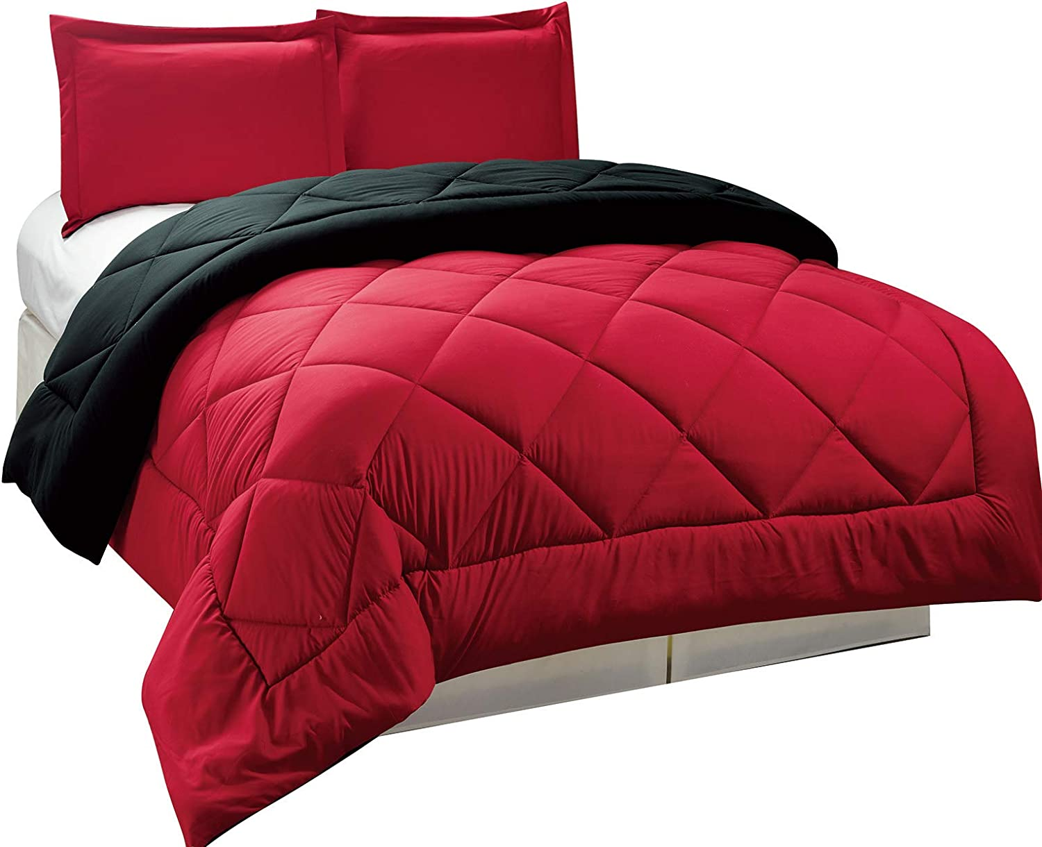 Legacy Decor 3pc Down Alternative, Reversible Comforter Set Red and Black, King Size