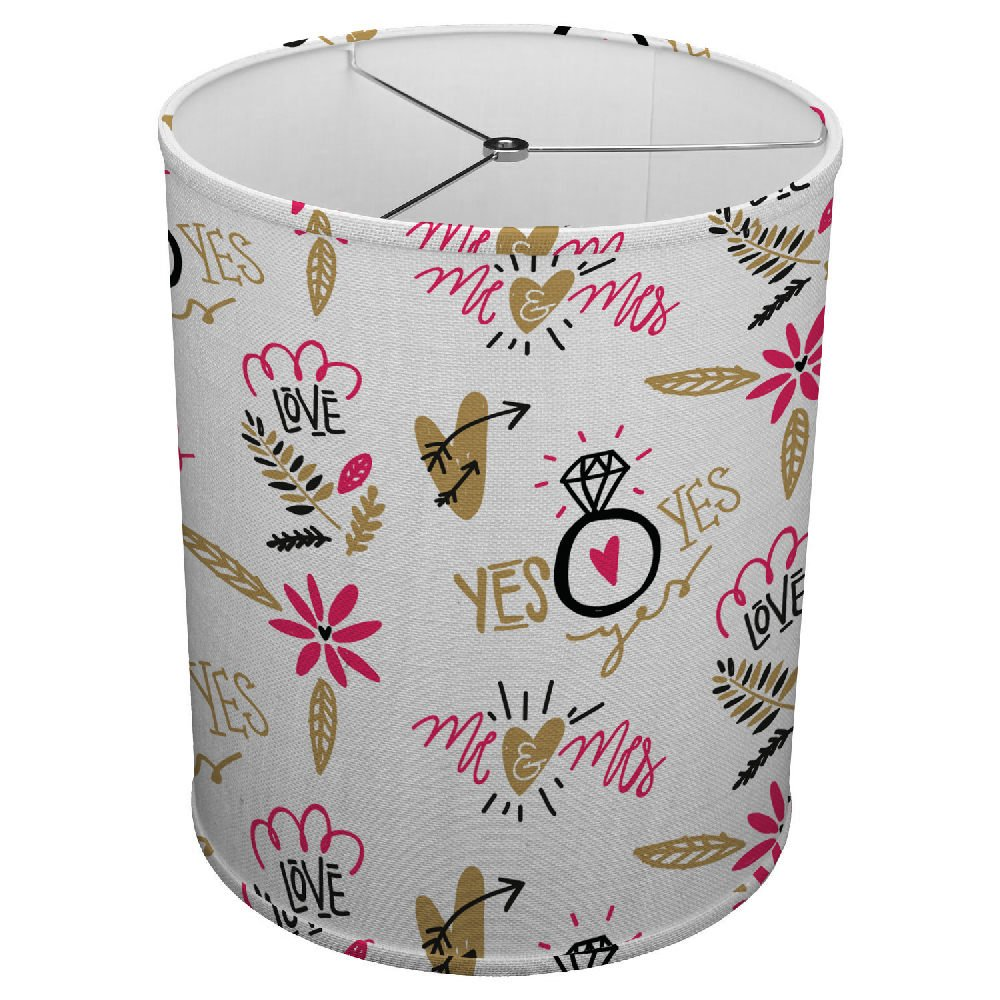 Hardback Linen Drum Cylinder Lamp Shade 8'' x 8'' x 8'' Spider Construction [ Floral Hearts Love ]