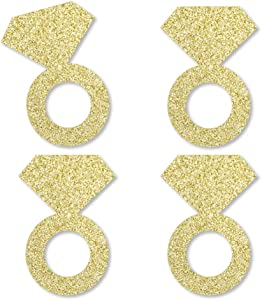 Gold Glitter Diamond Ring - No-Mess Real Gold Glitter Cut-Outs - Bridal Shower or Bachelorette Party Confetti - Set of 24