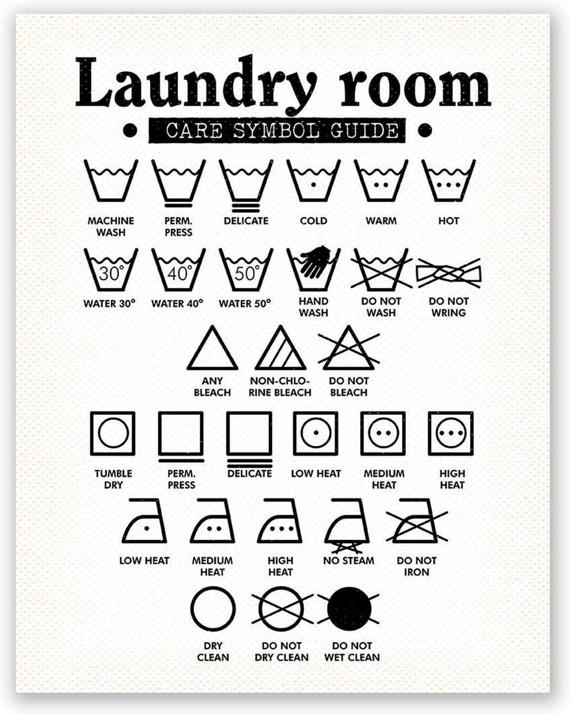 PGbureau 11x14 in Laundry Room Decor – Wall Art Symbols Poster – Laundry Decoration – Room Sign (White)