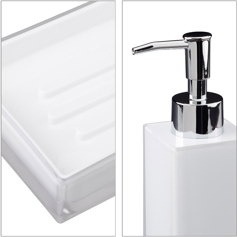 Relaxdays 10022586/_49 Set 4 Accessori Bagno Bicchiere Igiene Dentale Portaspazzolini Dispenser Sapone Portasaponetta Bianco