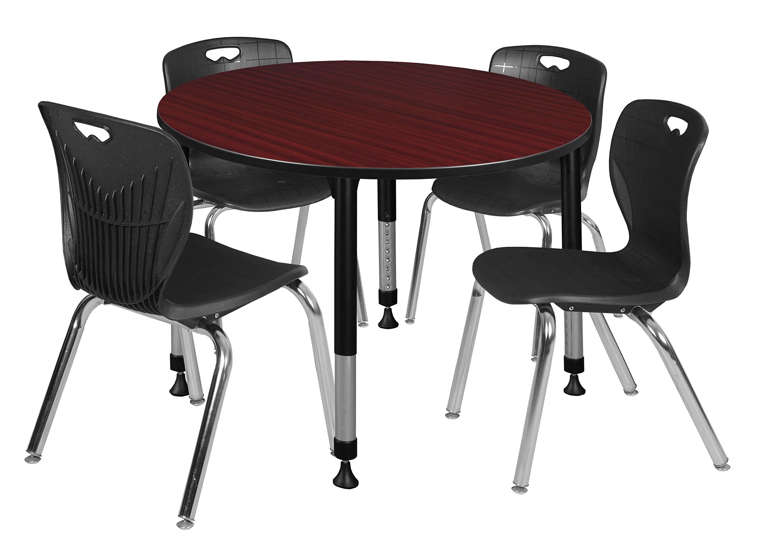 Regency TB48RNDMHAPBK40BK Kee Height Adjustable Classroom Table Set with Four 18'' Andy Chairs, 48'', Mahogany/Black