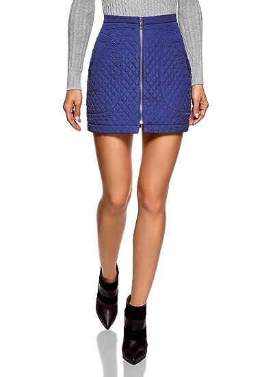 oodji Ultra Mujer Falda de Tejido Texturizado con Cremallera por ...