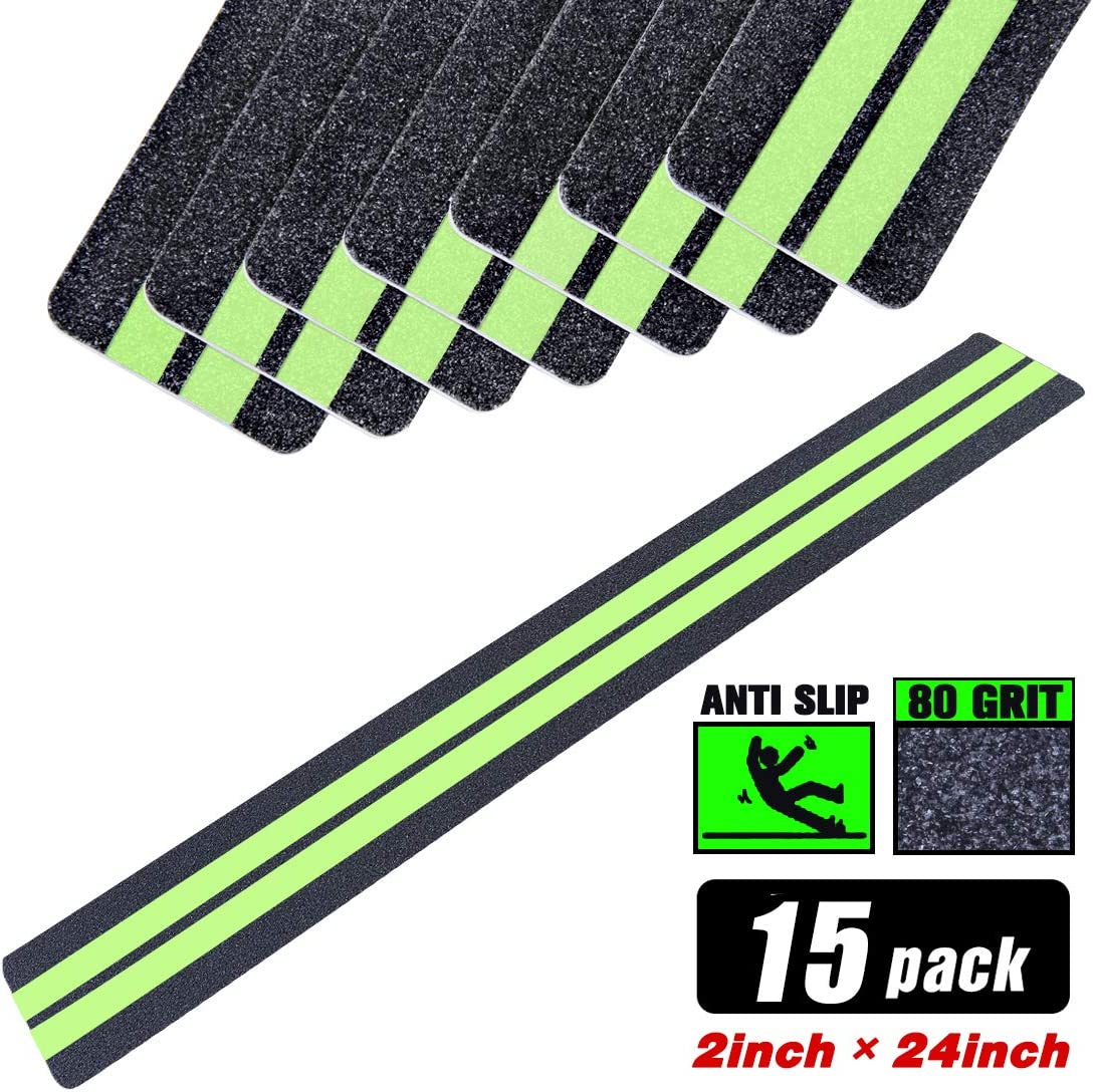 2 in X 24 in Anti-Slip/Glow-in-Dark Tape - Premium 15 Pre-Cut Strips, 80 Grit Anti Slip Adhesive Grip and Prevents Risk for Stairs or Other Safety Needs (15 Pack 2019)