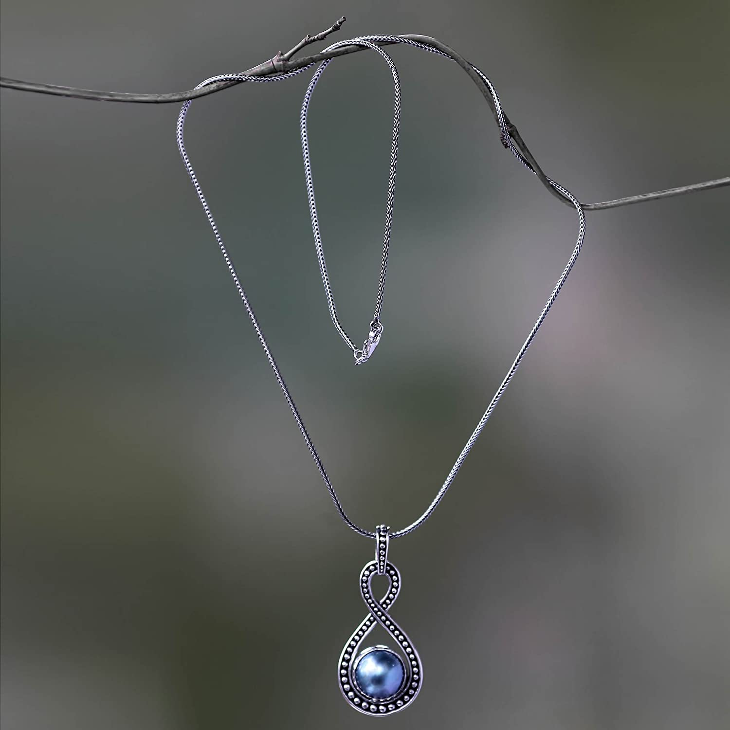 18.25 Infinite Blue NOVICA Dyed Blue Cultured Mabe Pearl .925 Sterling Silver Necklace