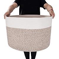 "ASkyl Large Cotton Rope Basket 15.8""x15.8""x13.8"" Laundry Bags Woven Blanket Basket Nursery Bin"