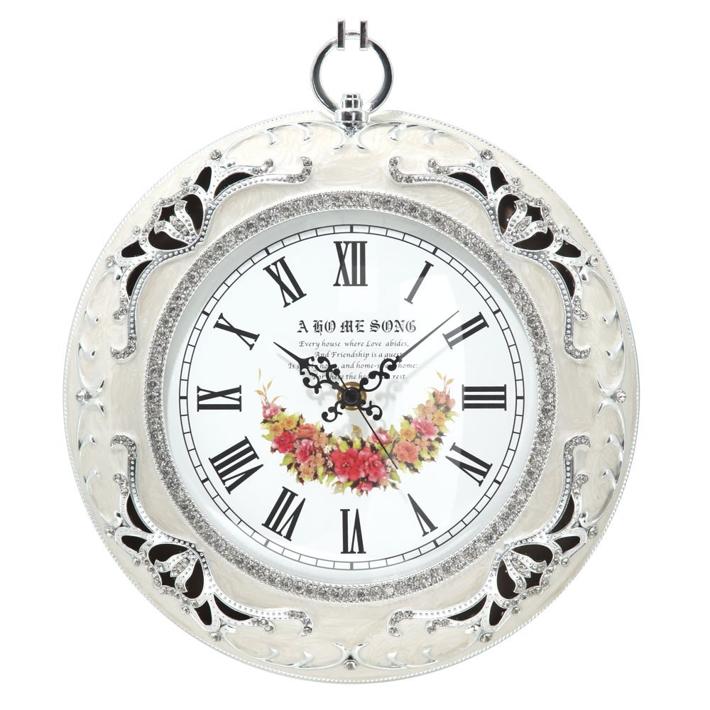 壁掛け時計 静音タイプ インテリア 掛け時計 おしゃれ 時計 レトロ お花 姫系 〔丸型〕 ホワイト〔A〕