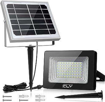 Foco Solar CLY 60 LED Luz Solar Lámpara Solar Exterior 60 LED con Batería 4000mAh Panel Solar ENCENDIDO/APAGADO Automáticamente IP66 Impermeable, Lámpara Solar para Jardín, Calle y Garaje: Amazon.es: Iluminación