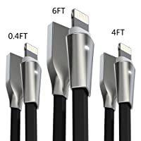 iPhone Cable , Aimus 3 Pack 0.4FT+4FT+6FT Zinc Alloyed Lightning to USB Charging Charger Cable Lead for iPhone 7/7 Plus, iPhone 6/6S/6 Plus/6S Plus, iPhone 5/5S/5C/SE, iPad Mini 2 3 4 Air iPod IOS10 and More (Black)