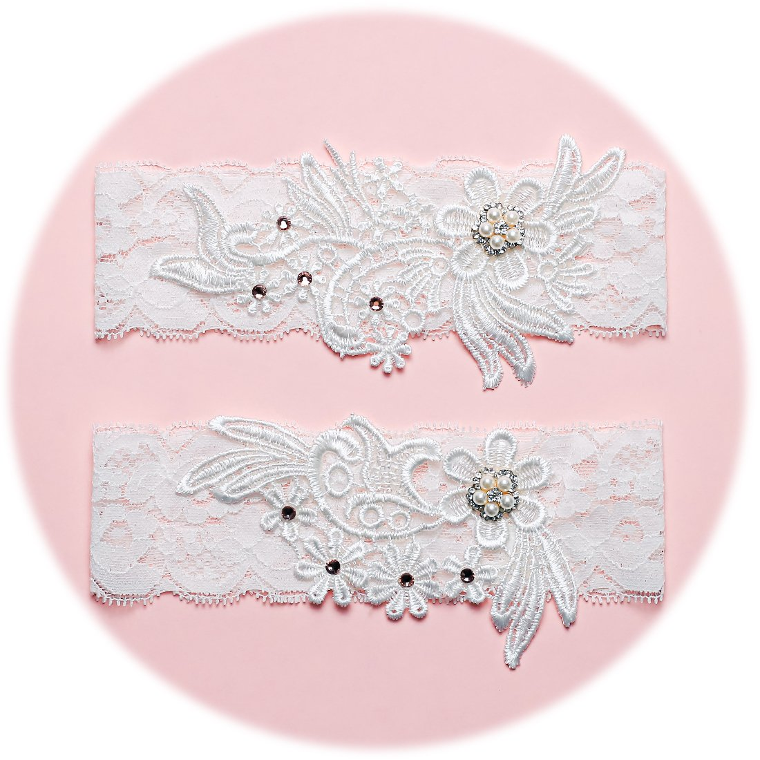 Slocyclub Lace Wedding Bridal Garter Pearl, Rhinestone Brides 70126000