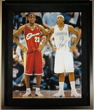 Autographed Lebron James Photo - Carmelo Anthony Framed 16x20 #/100 ...