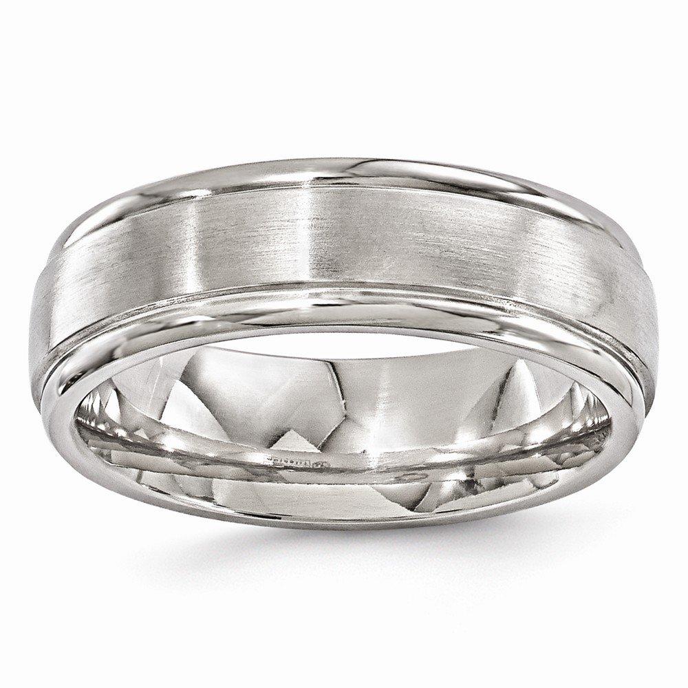 Edward Mirell Brushed and Polished Titanium 7mm Wedding Band - Size 9.5