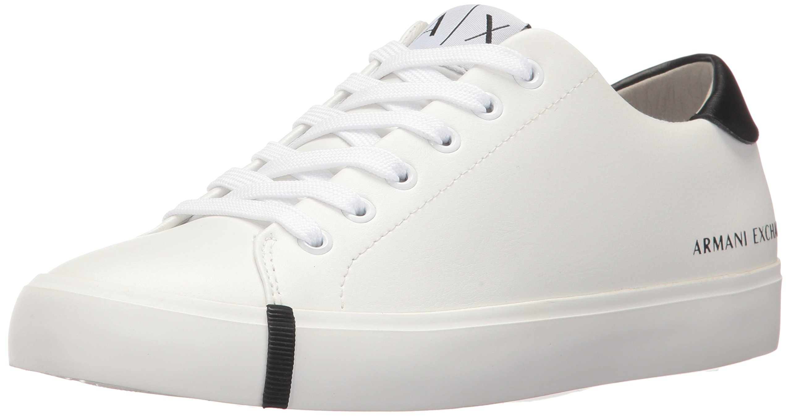 A|X Armani Exchange Women's Eco Leather Low Top Sneaker, Optical White, 10 M US