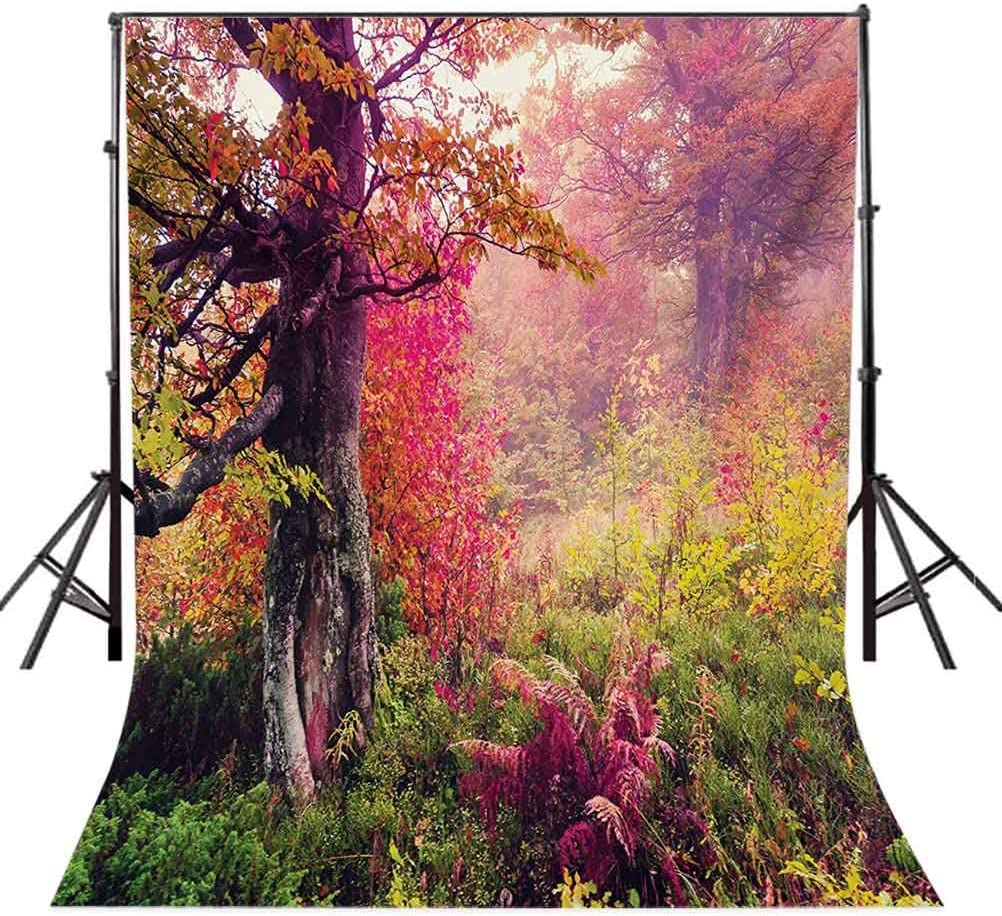 Forest 10x15 FT Photo Backdrops,Fairy Majestic Landscape with Autumn Trees in Forest Natural Garden in Ukraine Background for Party Home Decor Outdoorsy Theme Vinyl Shoot Props Red Green Brown