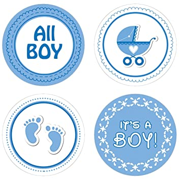 Blue Boy Baby Shower Favor Candle Stickers, 60 Count