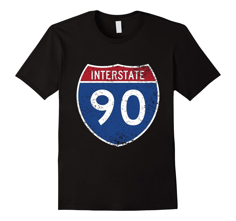 Interstate 90 Distressed Grunge Vintage Look T-Shirt-FL