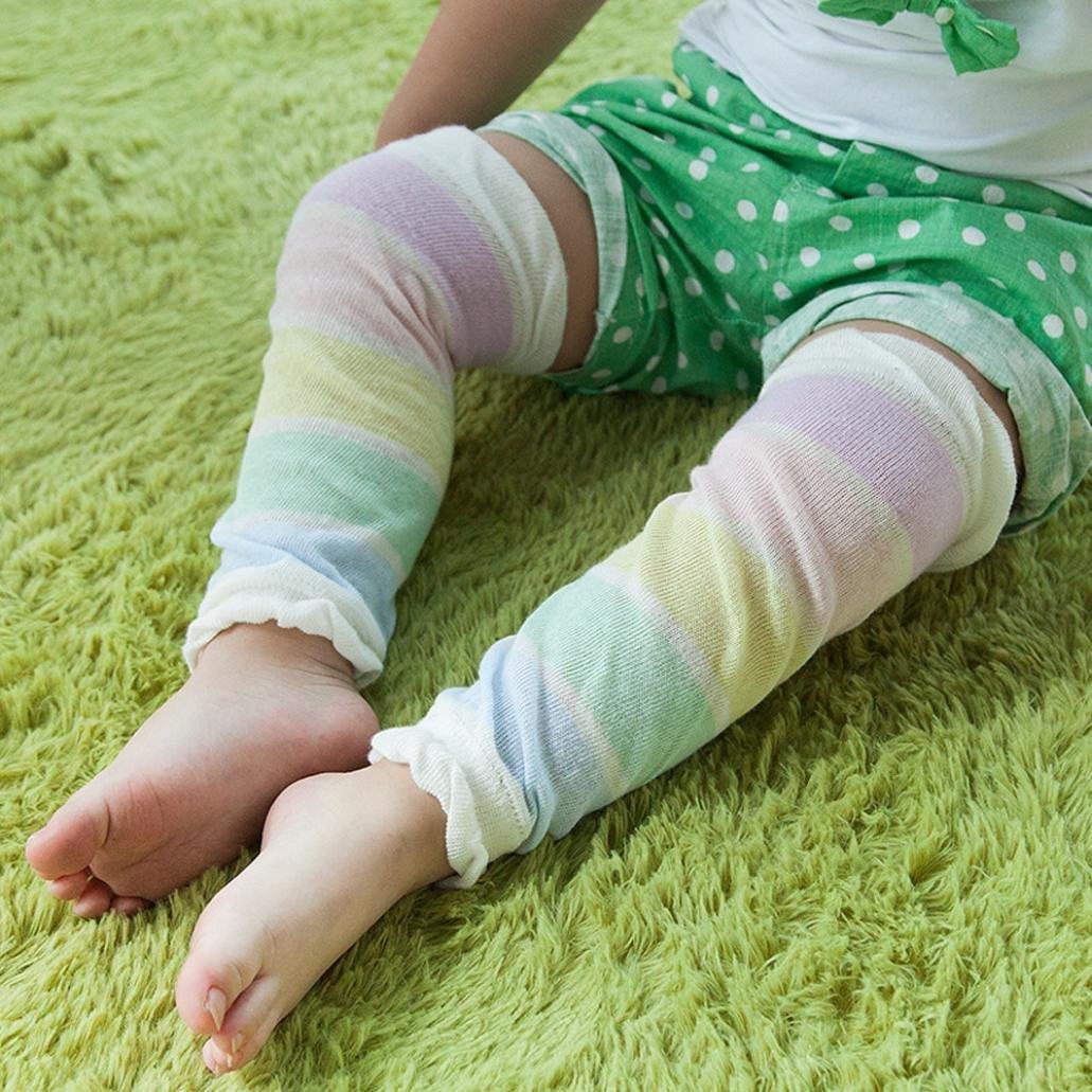 Digood Autumn Baby Girl Boy Print Stripe Warmers Knee Pads Kids Crawling Protector Socks