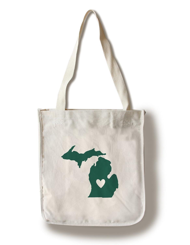 ミシガン州 – 状態アウトラインとハート Canvas Tote Bag LANT-72570-TT B01CXUM00W Canvas Tote Bag