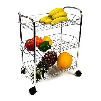 HQ 3 Tier Carrito para Cocina de Frutas y hortalizas Cesta Cromado Cromo 4 Ruedas fácilmente desplazable: Amazon.es: Hogar