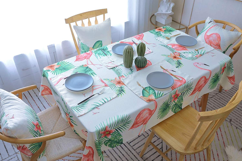 Drizzle Mantel flamencos Rosa Hojas de Palmeras Tropicales Rectangular Poli/éster Algod/ón Dise/ño de Comedor Decoraci/ón del Hogar 39 * 51in //100 * 130cm