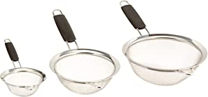 UrbanWare Set of 3 Fine Mesh Stainless Steel Strainers - Three Pack Tami Mesh Sifter Flour Sieve Cookware