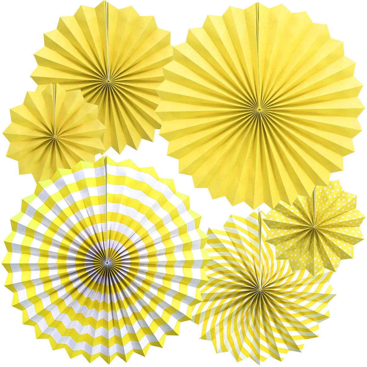 Zolee Hanging Paper Fans Decorations Kit for Wall - Set of 6 Circle Rosettes Tissue Paper Fans Bulk for Party Favors, Wedding, Birthday, Festival, Christmas, Events, Home Decor (Yellow)
