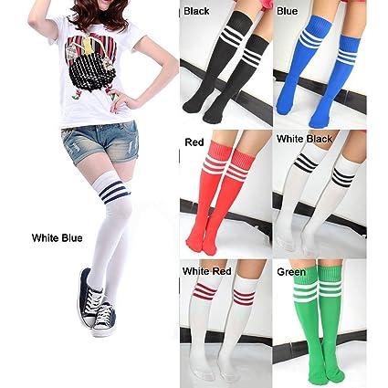 Gleader Calcetines Sobre Rodilla Tobillo para Futbol Beisbol Baloncesto - con Franjas de Color Diferente,