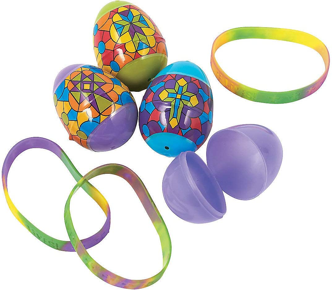 Party Supplies Fun Express Easter Religious Stained Glass Easter Eggs for Easter Containers /& Boxes Plastic Containers 12 Pieces Oriental Trading Company SG/_B00TT9N5UK/_US