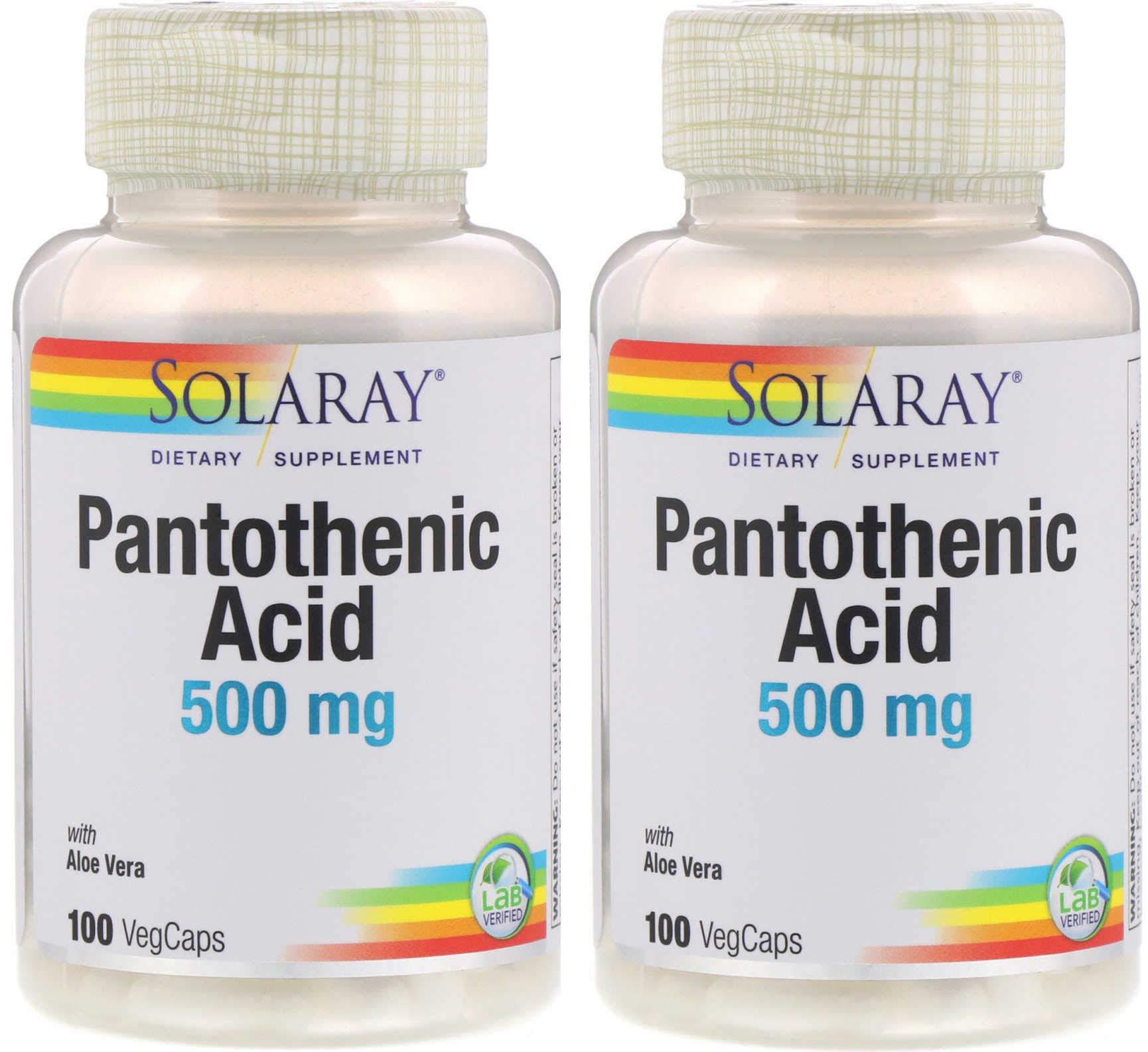 SolaRay Dietary Supplement Pantothenic Acid with Aloe Vera Lab Verified (100 VegCaps) Pack of 2