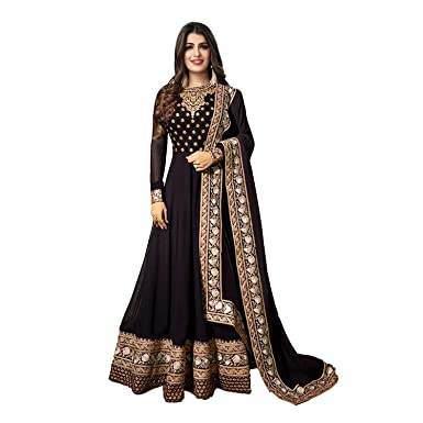 7314f1beb12 Colourfull Button Women s Faux Georgette Cording Embroidery Work Anarkali  Style Floor Touch Salwar Suit Set (