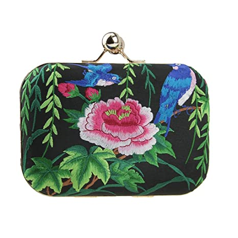 Monedero bordado con flores, Bird with Flower (negro ...
