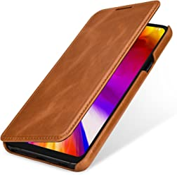 StilGut Book Type, Housse en Cuir pour LG G7 ThinQ. Etui de Protection en Cuir véritable pour LG G7 ThinQ à Ouverture latérale, Cognac