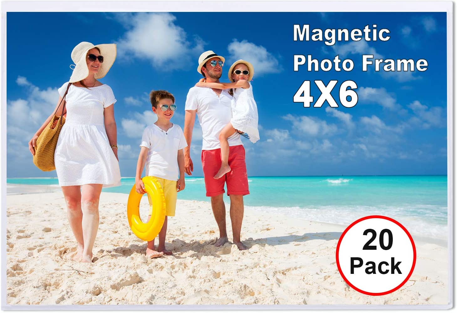 TNELTUEB 20 Pack Magnetic Picture Frames with Photo Pocket, 4 x 6 Magnetic Photo Sleeve Frame for Refrigerator, Fridge, Office Cabinet