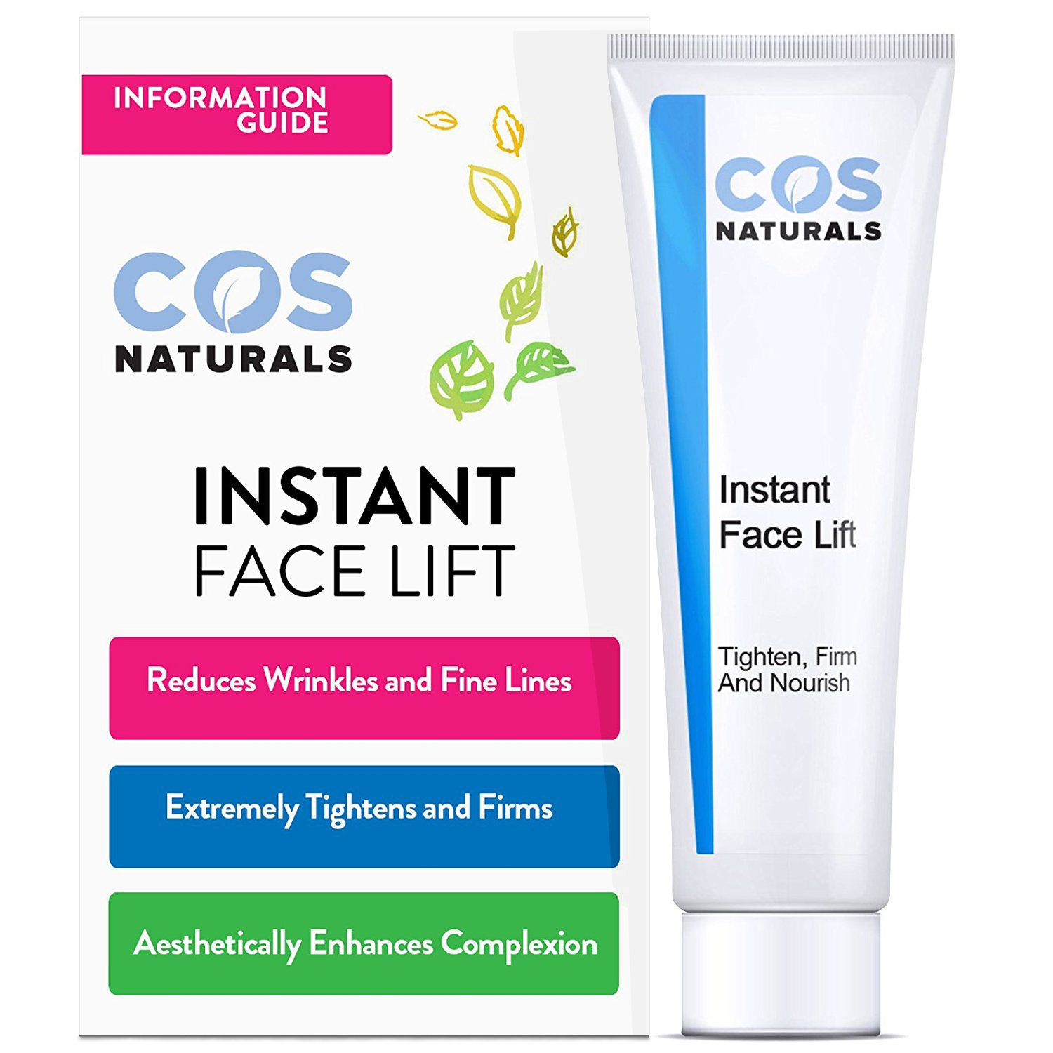 COS Naturals INSTANT FACE LIFT Tighten Firm And Nourish Natural Organic Ingredients Anti Wrinkle Cream Remove Signs of Aging Fine Lines Eye Puffiness Dark Circles Bags Wrinkles 12mL 0.4 fl oz