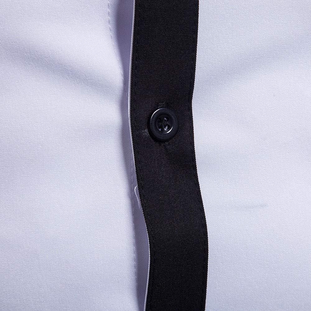 Mens Shirt Long Sleeve Button Down Blouse Tops Casual Dress Shirt Black White Colorblock