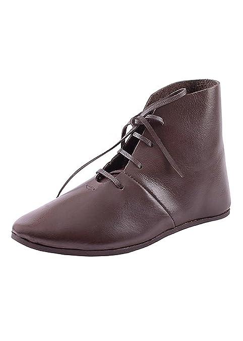Zapatos de cordones medieval, de media altura de piel - medieval, vikingos, Medieval, zapatos, color marrón, talla 44