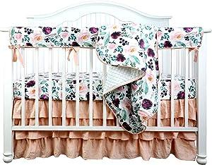 Boho Coral Floral Ruffle Skirt Baby Minky Blanket Peach Floral Nursery Crib Skirt Set Baby Girl Crib Bedding Blanket (Pink Wine Floral, 4pc Set)