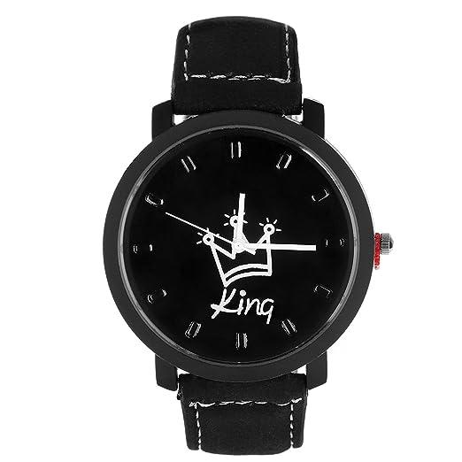 PU Correa de Cuero Reloj Redondo Reloj de Pulsera Cuarzo para Parejas Moda para Estudiantes Amantes Regalo: Amazon.es: Relojes