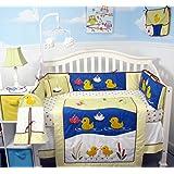 SoHo Quack Quack Ducks Baby Crib Nursery Bedding Set 13 pcs included Diaper Bag with Changing Pad & Bottle Case