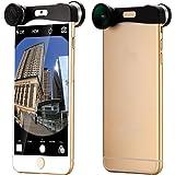 """Argento Obiettivo Fisheye + Grandangolo Lente + Micro lens Per iPhone 6 4.7"""" DC574"""
