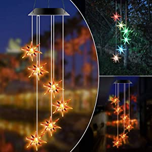 NOIHK Solar Wind Chimes Lights,Wind Chimes Outdoor Unique Color Changing Decoration Waterproof Hanging Lights Wind Spinner Bell,Gifts for Mom,Grandma Birthday Gifts,for Home Party Night Garden Outdoor