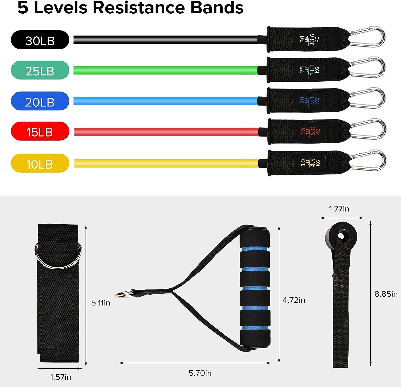 Resistance Band Set 12 Pcs Pilates Resistance Training ...